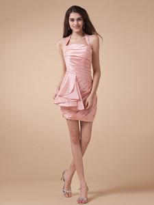 Halter and Ruched Bodice for School Winter Party Dress with Baby Pink from Lincoln